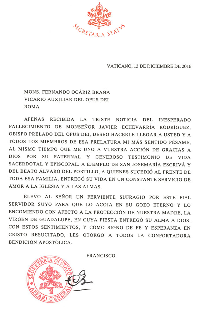 Telegram from the Holy Father - Romana - Opus Dei